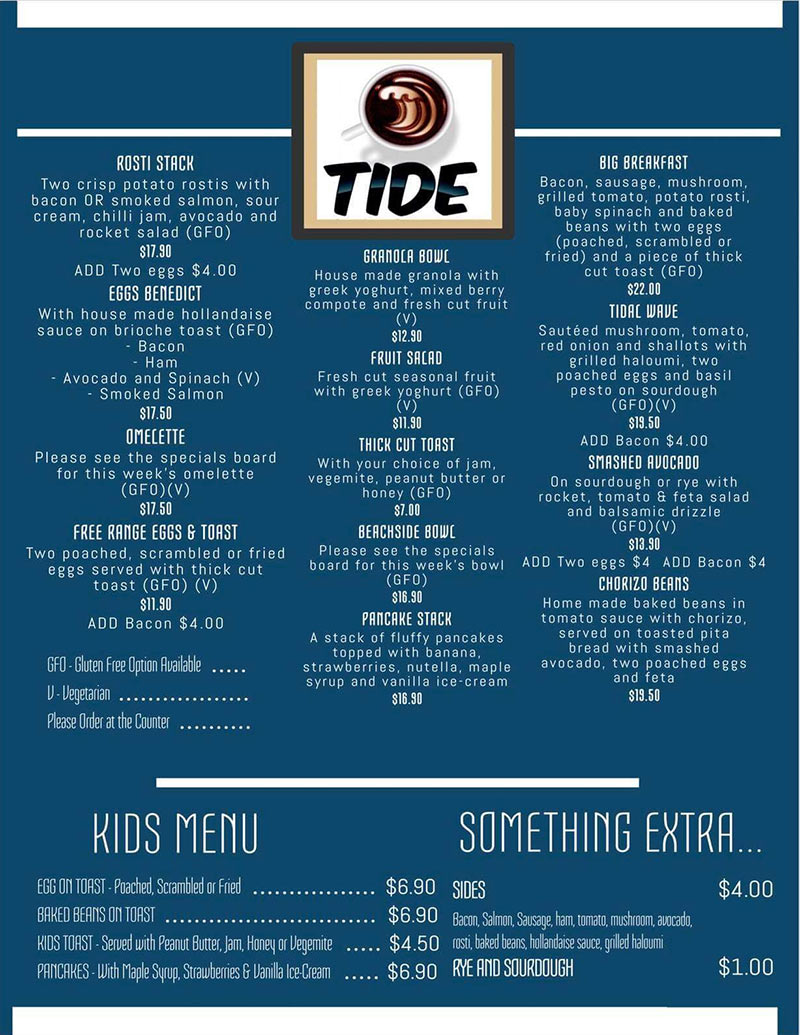 Tide Beachside Brekkys Menu